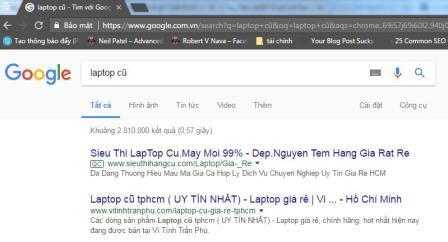 Kết quả từ khóa laptop cũ ở HCM khi chưa Fake IP
