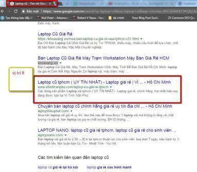 Vị trí từ khóa laptop cũ ở HCM sau khi Fake IP