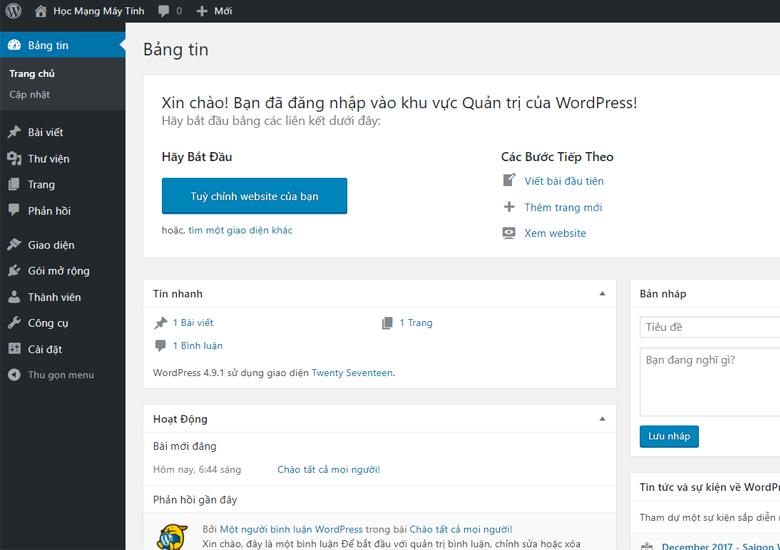 Giao diện Admin WordPress
