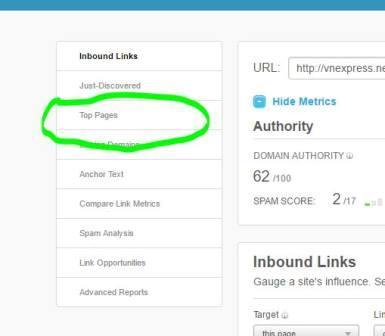 Chọn Top Pages để xem các Page có PA cao nhất