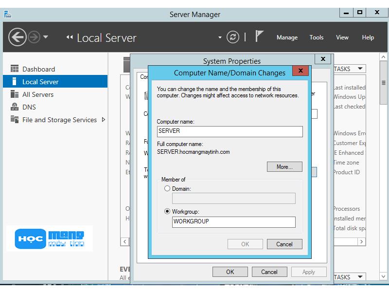 Tên máy tính Windows Server 2012 R2