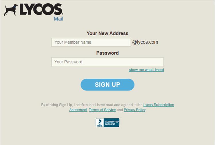 Đăng ký một địa chỉ email miễn phí tại Lycos.com.